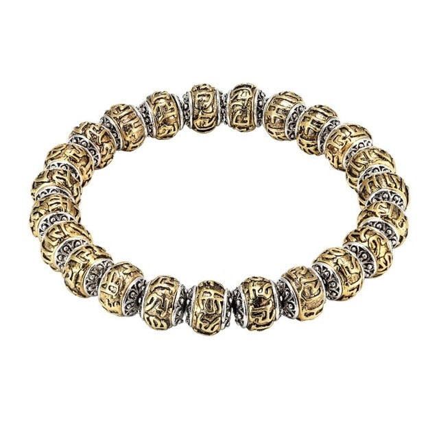 BOLD ENGRAVED BEADED BRACELET - DIVINE