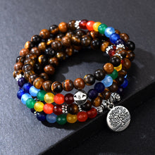 Load image into Gallery viewer, TIBETAN SILVER LAYERED CHAKRA BRACELET