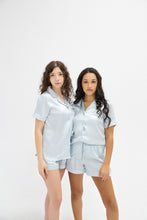 Load image into Gallery viewer, SHORT SLEEVE SATIN PAJAMAS - SKY BLUE