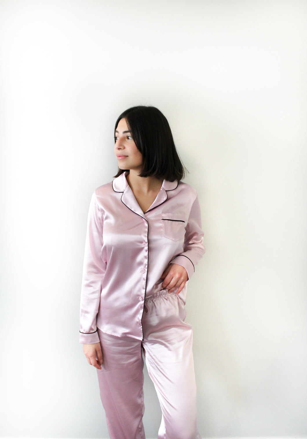 LONG SLEEVE SATIN PYJAMAS - PINK