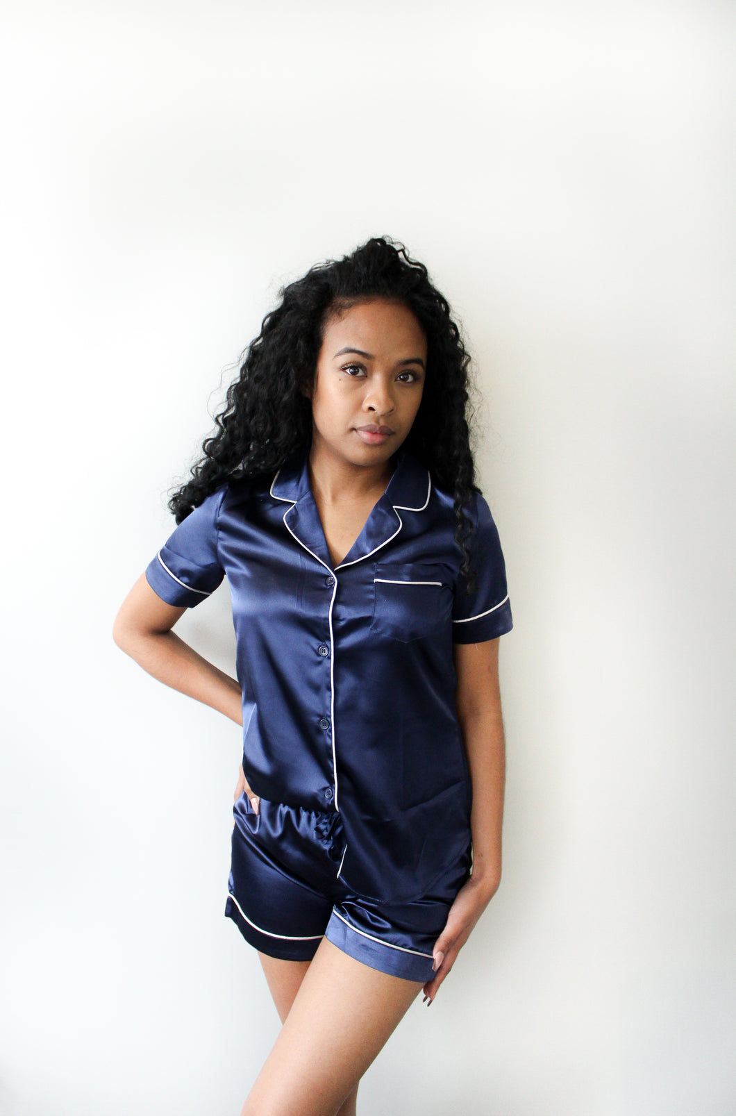 SHORT SLEEVE SATIN PYJAMAS - NIGHT BLUE