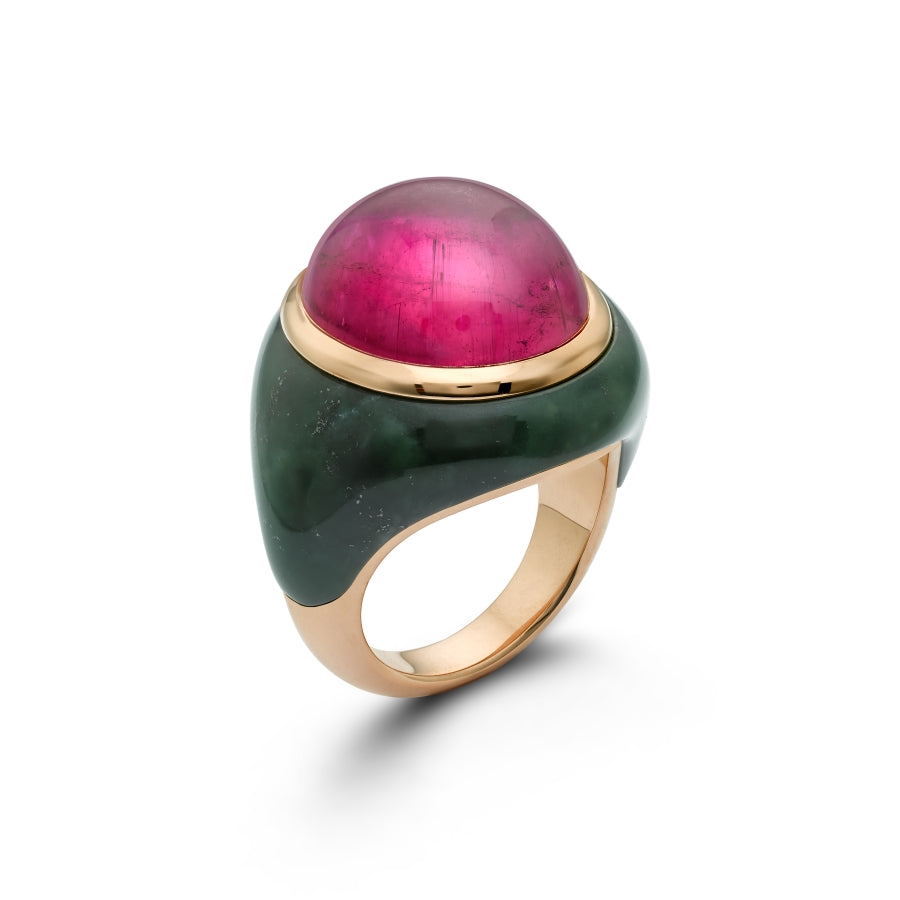 Rubellite Marble Cocktail Ring
