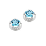 Wave Aquamarine Stud Earrings
