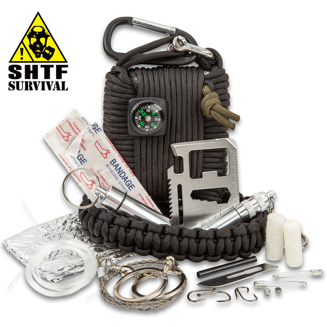 SHTF Paracord Survival Kit With Carabiner - 20 Piece Tool Kit