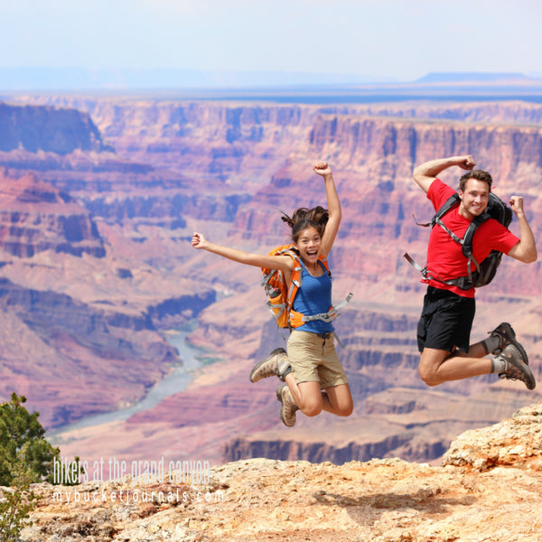 jumping hikers in the grand canyon