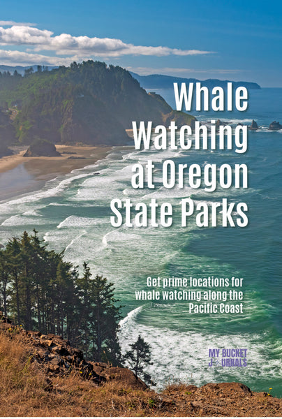 view from cape mears state scenic lookout with a text overlay saying Whale watching at oregon state parks