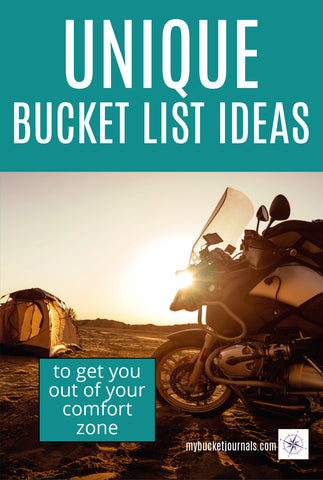 motorcycle camping at sunset with text overlay - Unique Bucket List Ideas