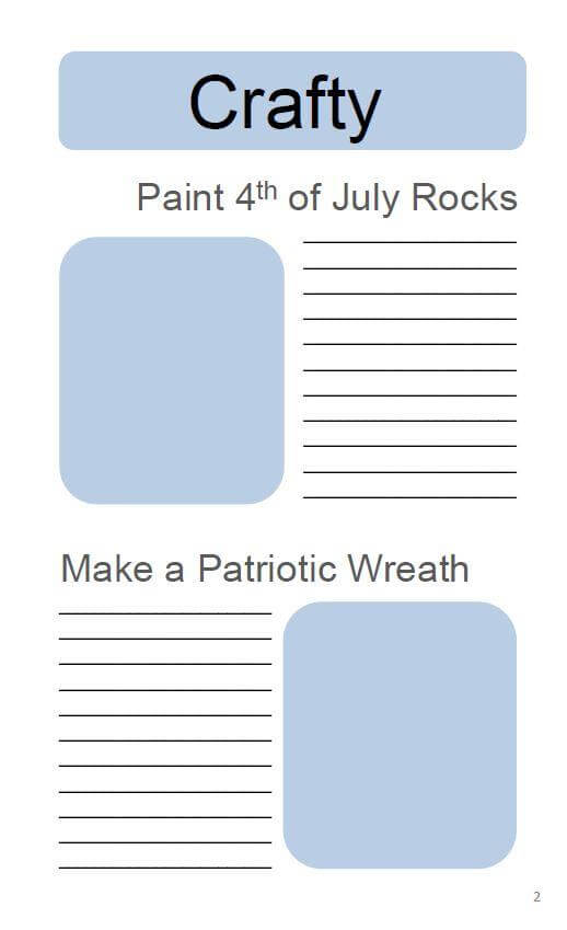 4th of July Bucket List Journal