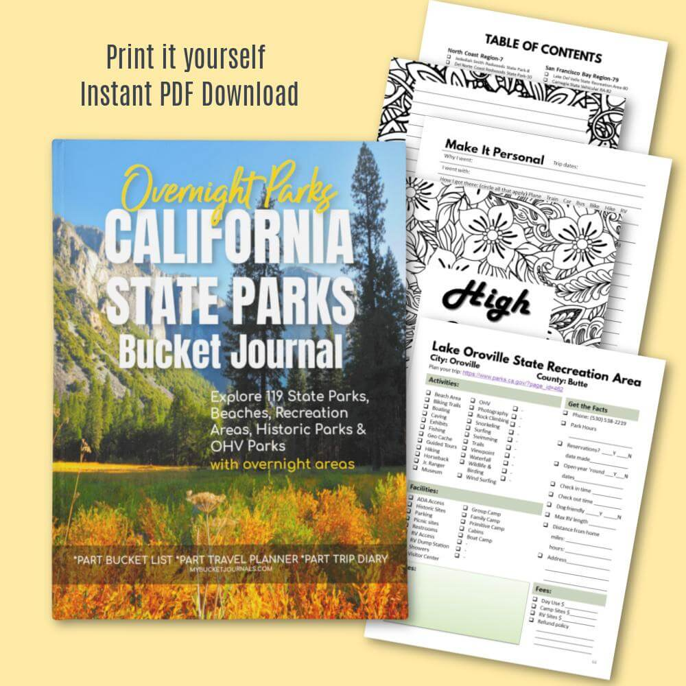 California Overnight State Parks Bucket Journal - Digital