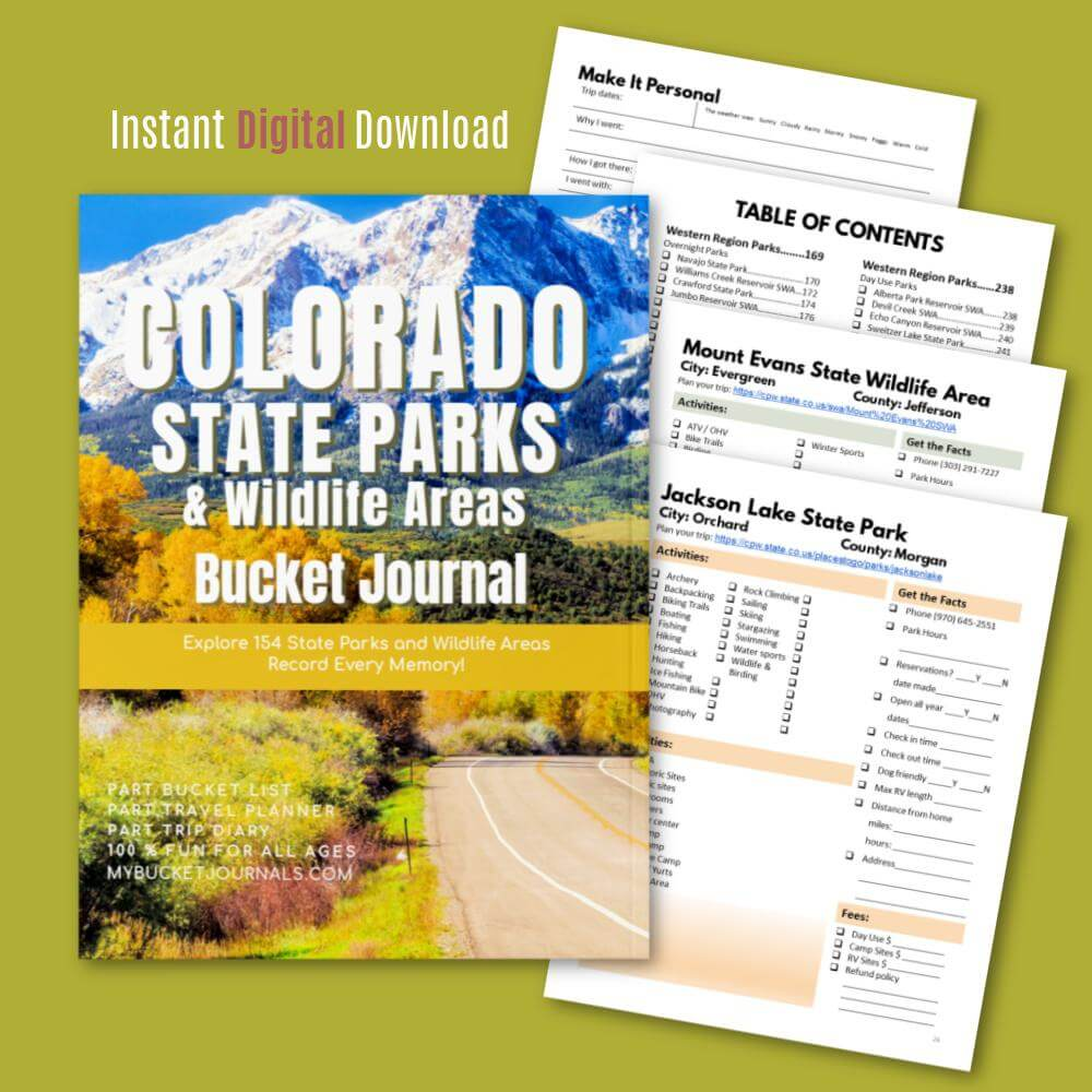 Colorado State Parks & Wildlife Areas Bucket Journal - Digital