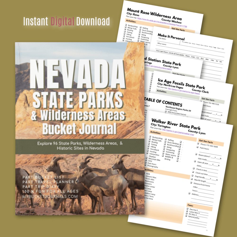 Nevada State Parks & Wilderness Areas Bucket Journal - Digital