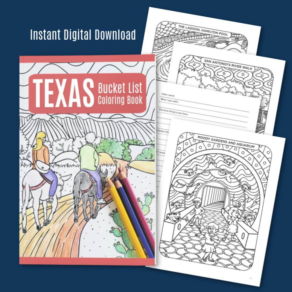 Texas Bucket List Coloring Book- Digital
