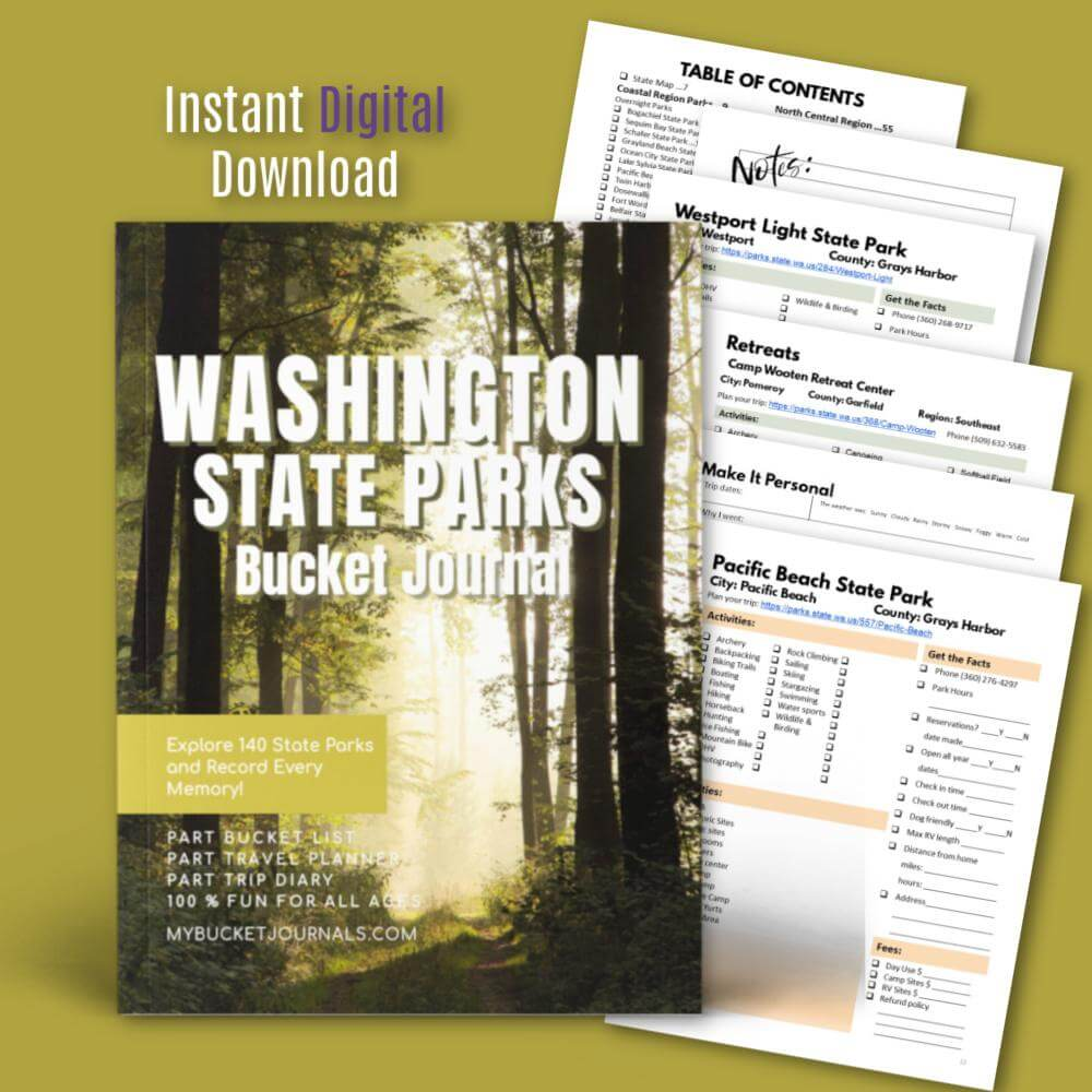 Washington State Parks Bucket Journal - Digital