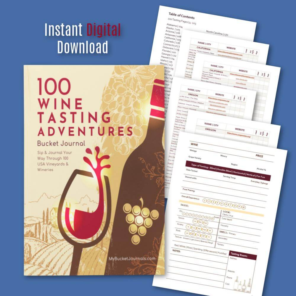 Wine Tasting Bucket Journal - Digital