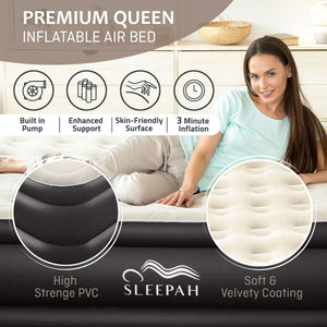 "Sleepah Queen Air Mattress with Built in Pump Blow Up Air Bed (18"" High) - Indoor & Outdoor Beige"