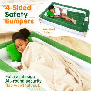 Sleepah Inflatable Toddler Travel Bed With Full Safety Bed Rails Includes Pump Sheet Pillow Green