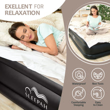 "Load image into Gallery viewer, Sleepah Queen Air Mattress with Built in Pump Blow Up Air Bed (18"" High) - Indoor & Outdoor Beige"