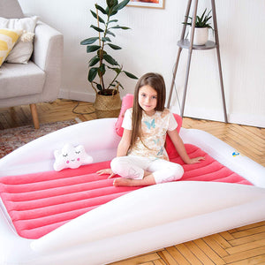 Sleepah Inflatable Toddler Travel Bed With High Safety Bed Rails With Pump Pillow Case – Pink