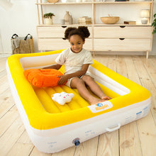 Load image into Gallery viewer, Sleepah Inflatable Toddler Travel Bed With Full Safety Bed Rails Includes Pump Sheet Pillow Amber