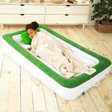 Load image into Gallery viewer, Sleepah Inflatable Toddler Travel Bed With Full Safety Bed Rails Includes Pump Sheet Pillow Green