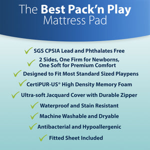 Sleepah Pack and Play Mattress Pad Portable Memory Foam; Double-Sided (Firm for Babies, Soft for Toddlers) Portable Crib Mattress, Waterproof Cover, Fitted Sheet; Fits Most Playpens 38 x 26 x 3