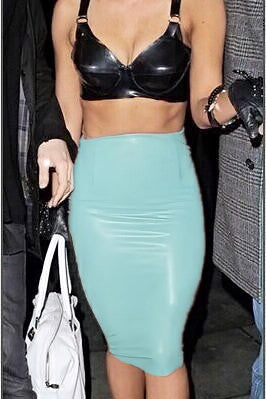 Fab & Go's High Waist Pencil Leather Skirt