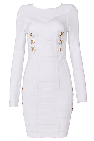 fab's Accented Long-Sleeve Bandage Dress