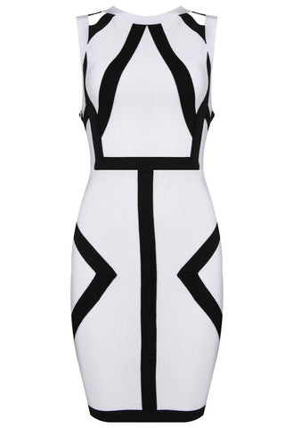 Bbs Striped Geometry Black And White Bandage Dress Dresses