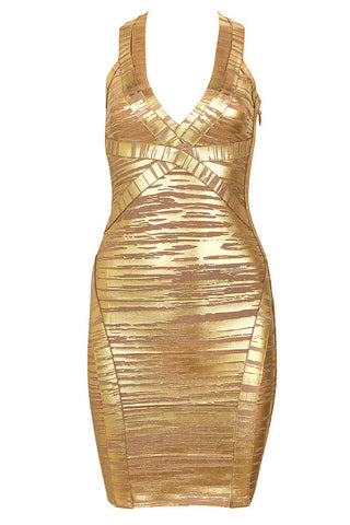 Classic Sleek Gold Bandage Dress