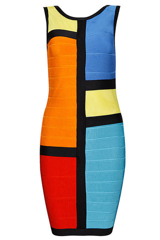 Alluring Mesh Multicolor Bandage Dress