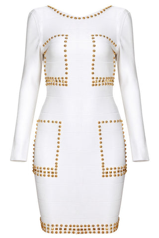 FAB's Beaded Sexy Long-sleeved Bandage Dress