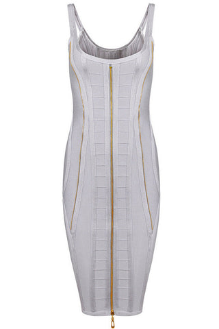 Deluxe Bateau Gold Zipper Embellished Bandage Dress