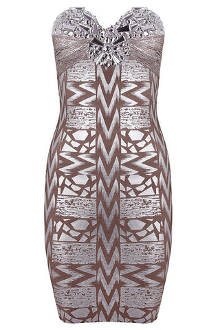 Fabs Beaded Metallic Bra Sexy Bandage Dress Dresses