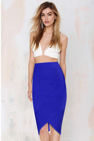 Crossover Back Zipper Slit Pencil Skirt