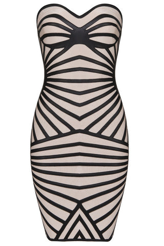 Beguile Strapless Zebra Bandage Dress