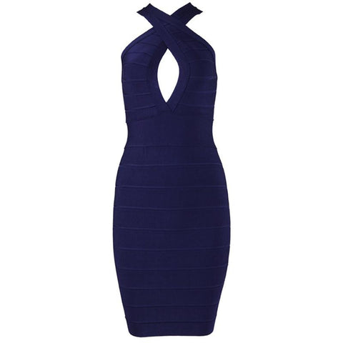 Fabs Backless Slim Bandage Dress (Sku) Dresses