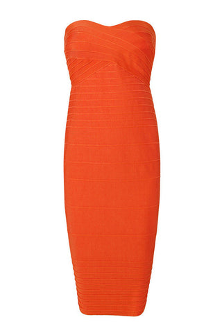 Jamie Orange Bandage Dress