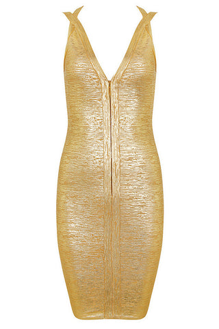 Hilda Gold Bandage Dress