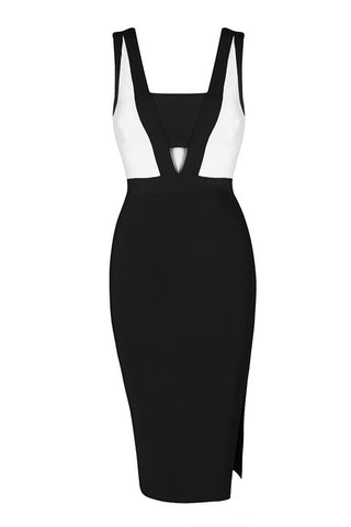 Audrey B&w Bandage Dress