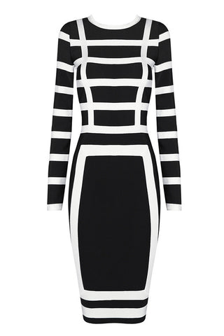 Darlene B&w Bandage Dress