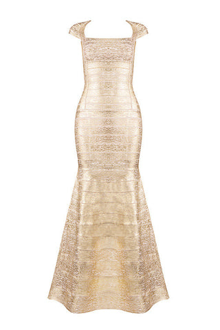 Adela Gold Bandage Dress