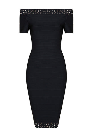 Angelia Black Bandage Dress