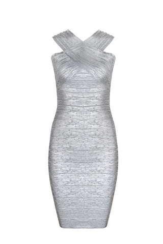 Bridgett Silver Bandage Dress