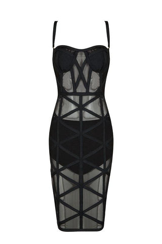 Gabrielle Black Bandage Dress