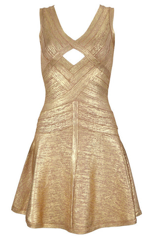 Elaine Gold Bandage Dress