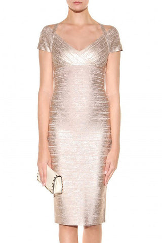 Caroline Gold Bandage Dress