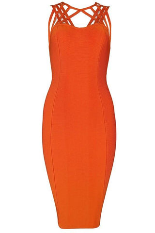 Ashlee Orange Bandage Dress