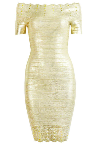 Aileen Gold Bandage Dress