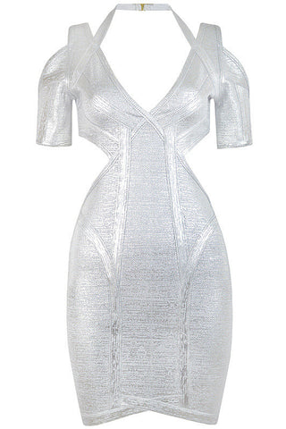 Dominique Silver Bandage Dress