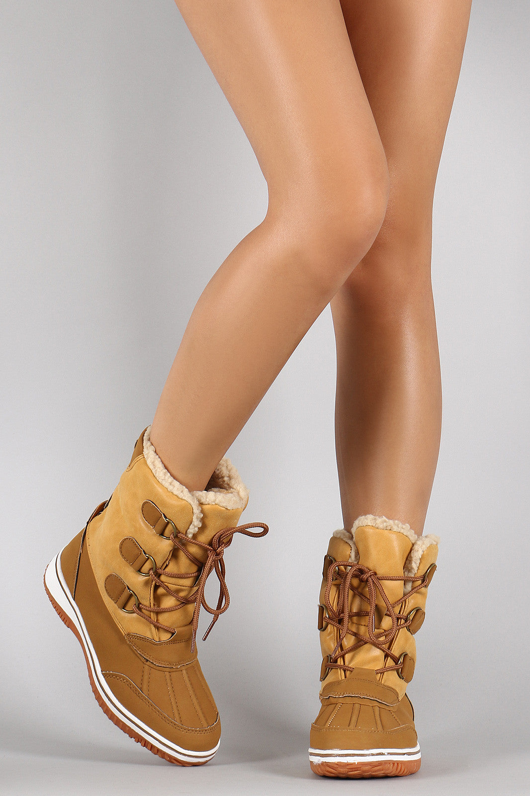1ff1927e0fad2 Faux Shearling Round Toe Lace Up Duck Boots Shoes Mid Calf Booties ...